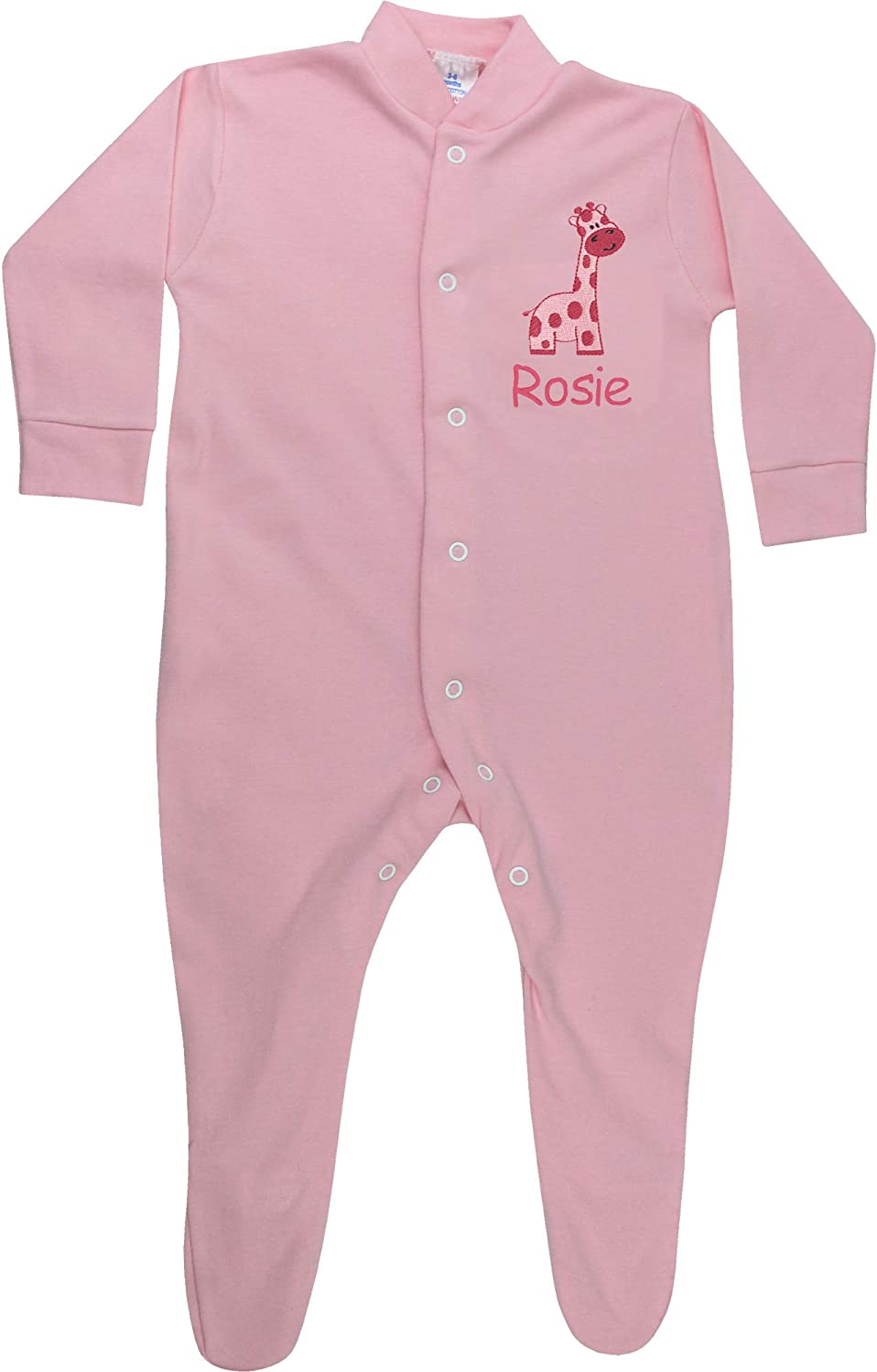 TeddyTs Personalised Baby Pink Giraffe Embroidered All in One Sleepsuit