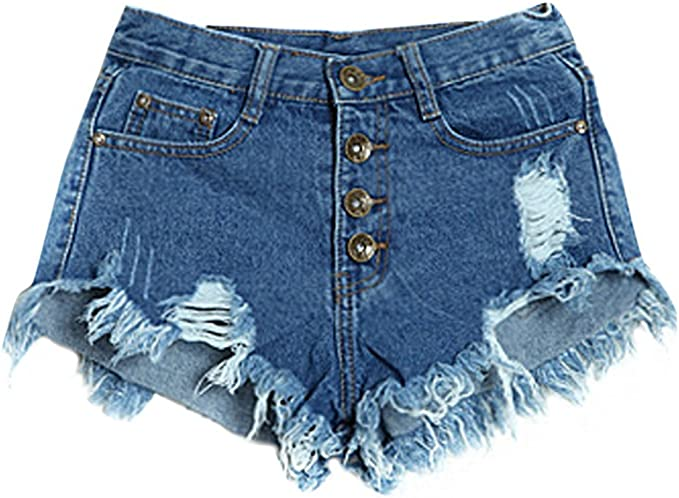 Wenyujh Damen Retro Denim Shorts Hotpants Kurze Jeans Hose