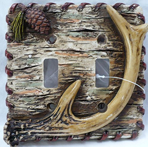Lodge Rustic Decor Antler Pinecone Tree Bark Double Light Switch Plate Covers ()