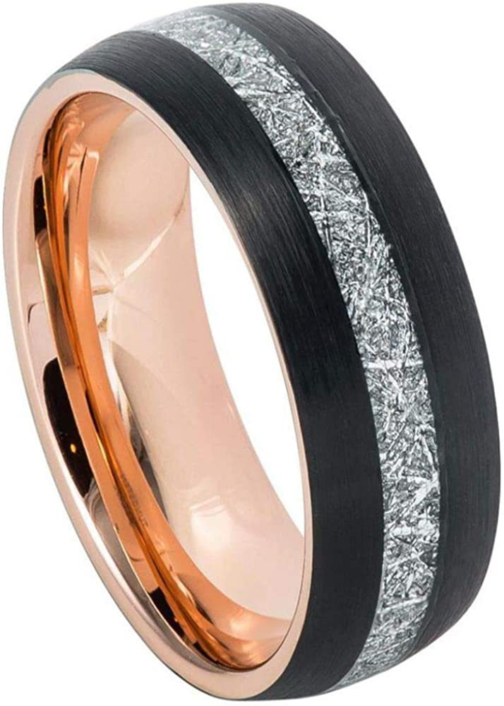 Black /& Rose Gold IP Domed Comfort Fit Tungsten Carbide Anniversary Ring TosowebOnline Mens 8mm Brushed Finish with Meteorite Imitation Inlay