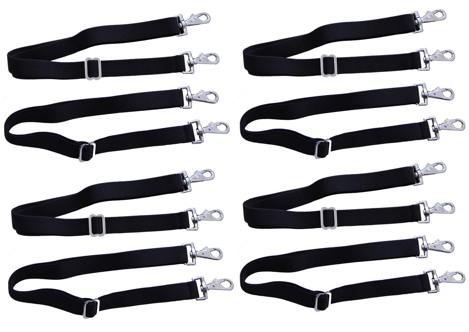 AJ Tack Wholesale Inc. Horse Blanket Sheet Replacement Elastic Leg Straps 4-Pairs Double Snaps Adjustable Length by AJ Tack Wholesale Inc.