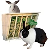 """B&P Wooden Hay Rack With Cover - Large Hay Manger With Seat for Bunnys Chinchillas Guinea pigs 9.8x6.7x8.6"""""""