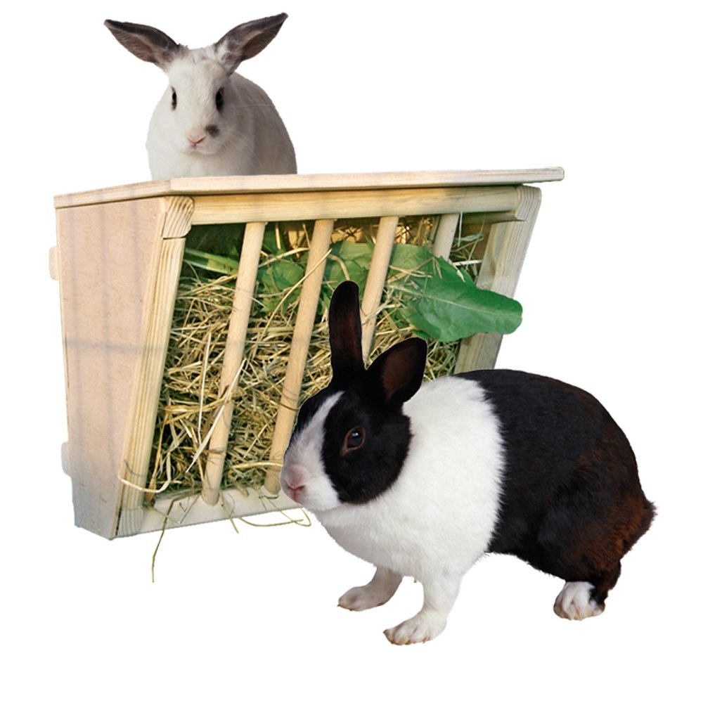 Beaks And Paws B&P Wooden Hay Rack With Cover - Large Hay Manger With Seat for Bunnys Chinchillas Guinea pigs 9.8x6.7x8.6""