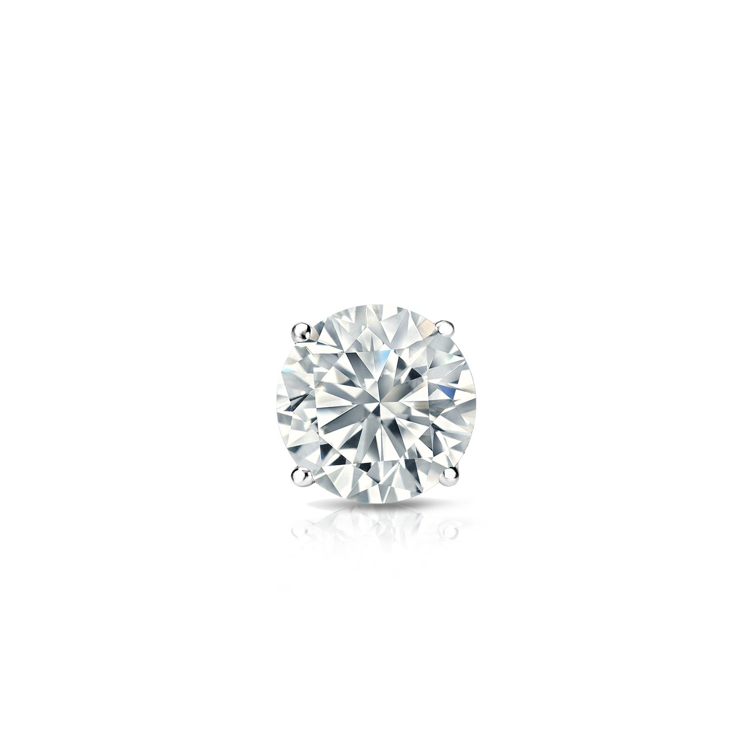 1//8-1cttw,Excellent Quality 14k White Gold Round Diamond Simulant CZ SINGLE STUD Earring 4-Prong
