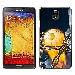 Caucho caso de Shell duro de la cubierta de accesorios de protección BY RAYDREAMMM - Samsung Note 3 N9000 - Balón de fútbol llameante