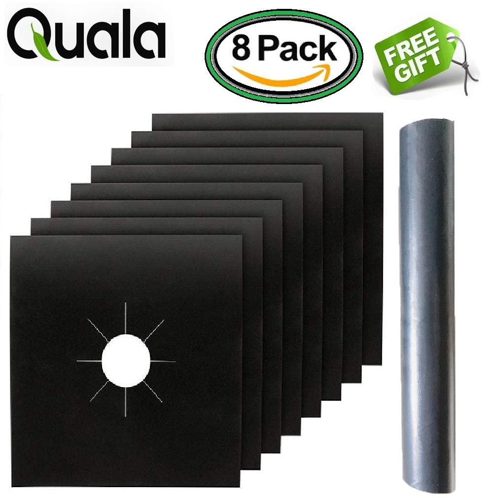 [BONUS GIFT] 8 Pack Gas Range Protectors + FREE OVEN LINER! - Gas Stove Burner Covers - Range Cooktop Liners .2MM THICK - Premium - Reusable - Easy Clean - Non Stick (10.5 x 10.5) FDA Approved