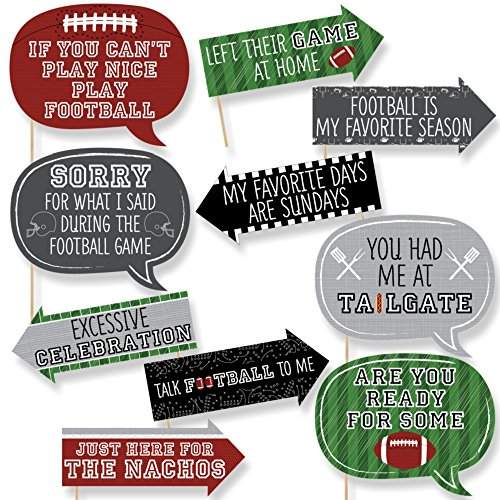 Funny End Zone - Football - Tailgating Party Photo Booth Props Kit - 10 Piece (Tailgating Decorations)