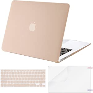MOSISO Plastic Hard Shell Case & Keyboard Cover & Screen Protector Only Compatible with MacBook Air 13 inch (Models: A1369 & A1466, Older Version 2010-2017 Release), Camel