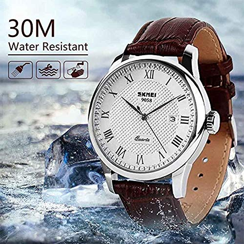 Mens Unique Roman Numeral Fashion Design Quartz Analog Waterproof Wrist Business Casual Watch with Stainless Steel Case, 98ft 30M 3ATM Water Resistant, Comfortable PU Leather Band – Brown