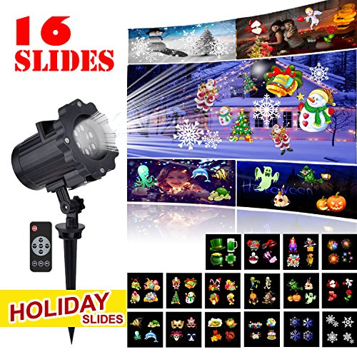 Led Projector Light Christmas Dynamic Lighting Landscape Waterproof 10W 16 Slides Motion Projection Light with Remote Control for Outdoor Indoor Halloween Xmas Party Holiday Decoration (Black)