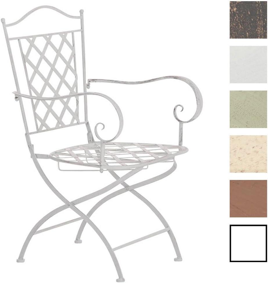 CLP Silla de Jardín Adara en Hierro Forjado | Silla de Exterior Metálica con Reposabrazos | Silla de Terraza con 93cm de Altura | Color: Blanco Envejecido