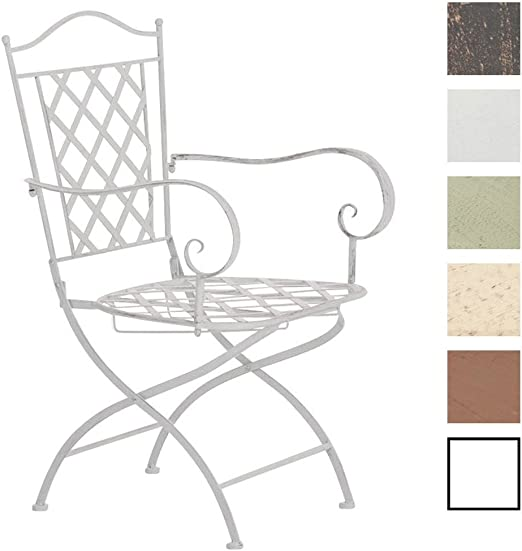 Silla de Jardín Adara en Hierro Forjado | Silla de Exterior Metálica con Reposabrazos | Silla de Terraza con 93cm de Altura | Color:, Color:Blanco Envejecido: Amazon.es: Jardín