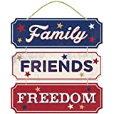 "Americana Fourth of July Party Friends, Family, Freedom Hanging Sign Decoration, Fiberboard, 12"" x 12"""