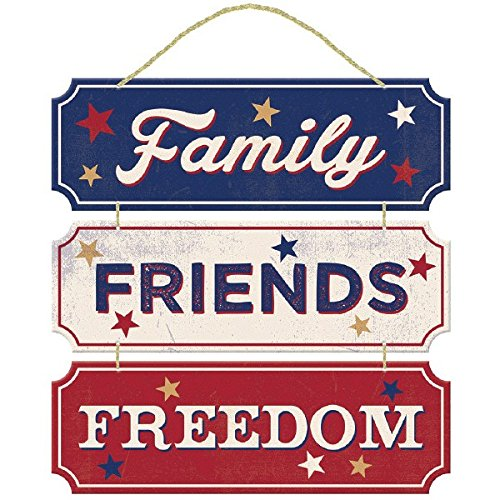 Americana Fourth of July Party Friends, Family, Freedom Hanging Sign Decoration, Fiberboard, 12