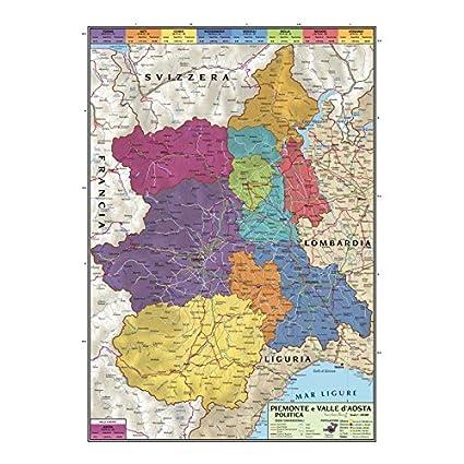 Carta Geografica Murale Regionale Piemonte E Valle Daosta 100x140