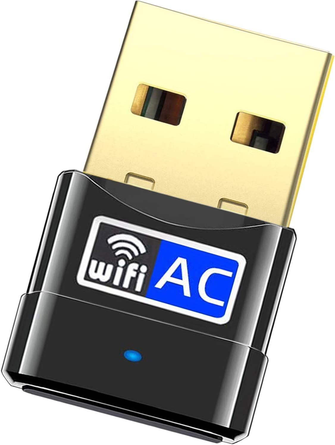 WiFi Adapter for Desktop pc 600Mbps USB WiFi Network Wi-Fi Adapters Dongle Receiver for PC Laptop Dual Band 802.11ac USB WiFi for Windows XP/7/8/10/vista MacOS 10.6-10.14 (All-New USB WiFi Adapter)