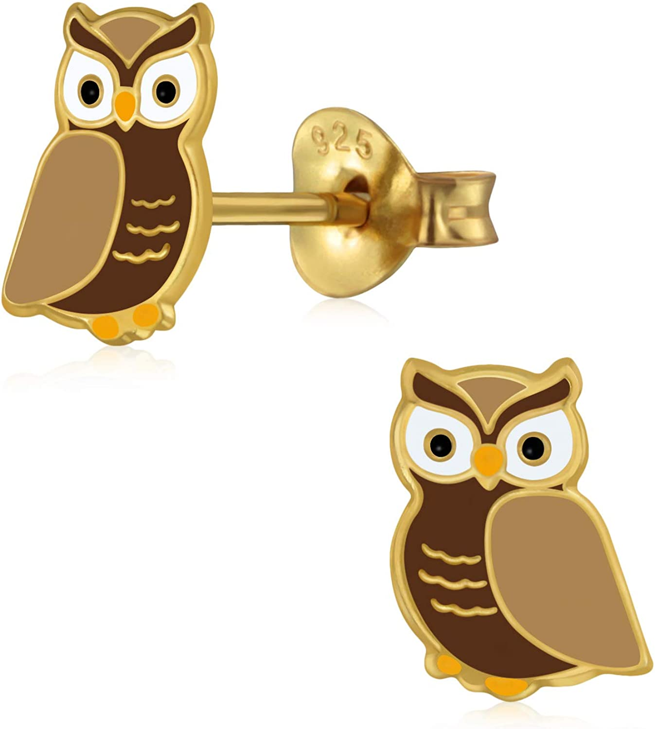 Laimons Girls Stud Earrings Childrens Jewellery Owl Gold-Plated Brown 925 Sterling Silver