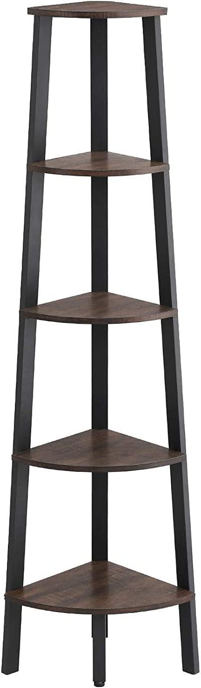 Benjara Industrial Style Free Standing Iron Bookcase with Five Wooden Shelves, Brown and Black