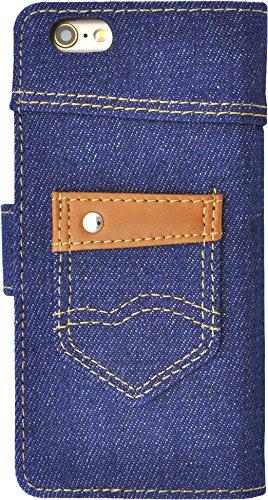 PLATA iPhone アイフォン 6 6s 4.7 インチ 用 ポケット 付き デニム ケース ポーチ 手帳型 カバー iPhone6 iPhone6s 【 インディゴ ネイビー 紺 濃い青 】