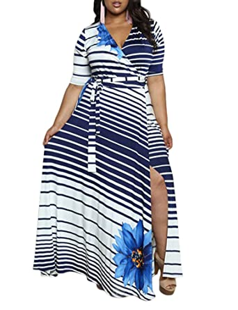 c2fe1b2a5d3f Saslax Women s Plus Size V Neck Striped Floral Print Half Sleeve Split  Bodycon Evening Party Maxi