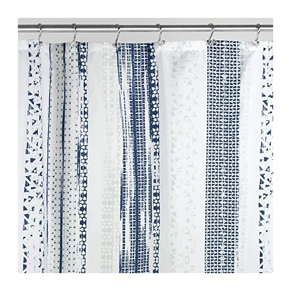 "iDesign Geometric Stripe Fabric Shower Curtain, Water-Repellent Bath Liner for Kids', Guest, College Dorm, Master Bathroom, 72"" x 72"", Navy and Slate Blue Striped - FABRIC SHOWER CURTAIN: Wrinkle-resistant 100% polyester fabric gives your bathtub a sleek look. Stylish striped blue design for a modern look. Great for master bathroom, guest bathroom, child's bathroom, or basement bathroom WATERPROOF: Fabric is coated to allow water to easily glide off and resist soaking REINFORCED BUTTON HOLES: 12 button holes with a weighted hem are suitable for S hooks, shower rings, and other shower curtain hooks for easy hanging - shower-curtains, bathroom-linens, bathroom - 61YRrLfPMiL. SS570  -"