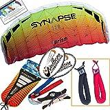 Prism Synapse 170 Mango Kite Orange Yellow Bundle (3 Items) Dual Line Power Foil Parafoil + Peter Lynn Heavy Duty Padded Kite Control Strap Handles Pair + WindBone Kiteboarding Lifestyle Stickers