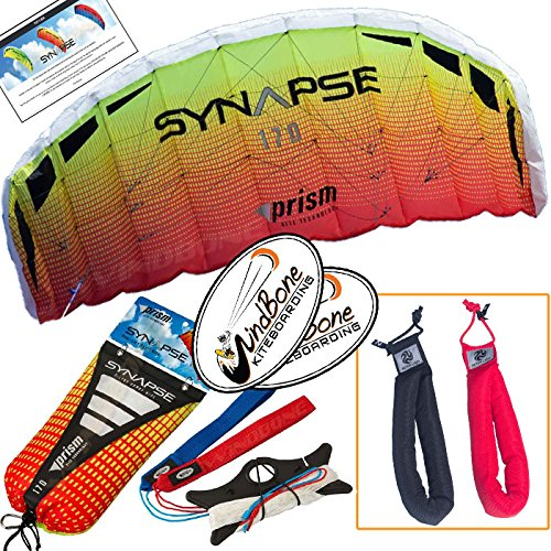 Prism Synapse 170 Mango Kite Orange Yellow Bundle (3 Items) Dual Line Power Foil Parafoil + Peter Lynn Heavy Duty Padded Kite Control Strap Handles Pair + WindBone Kiteboarding Lifestyle - Prism Decal