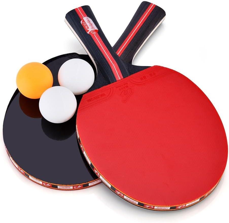 Alomejor Ping Pong Pala, Pala de Tenis de Mesa 2 Jugadores Premium Recreational Juego de Tenis de Mesa de Goma