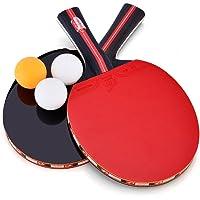 Dioche Juego de Tenis de Mesa, 2 Raquetas de Tenis de Mesa Raquetas de Ping Pong 3 Bolsa de Almacenamiento de Bolas