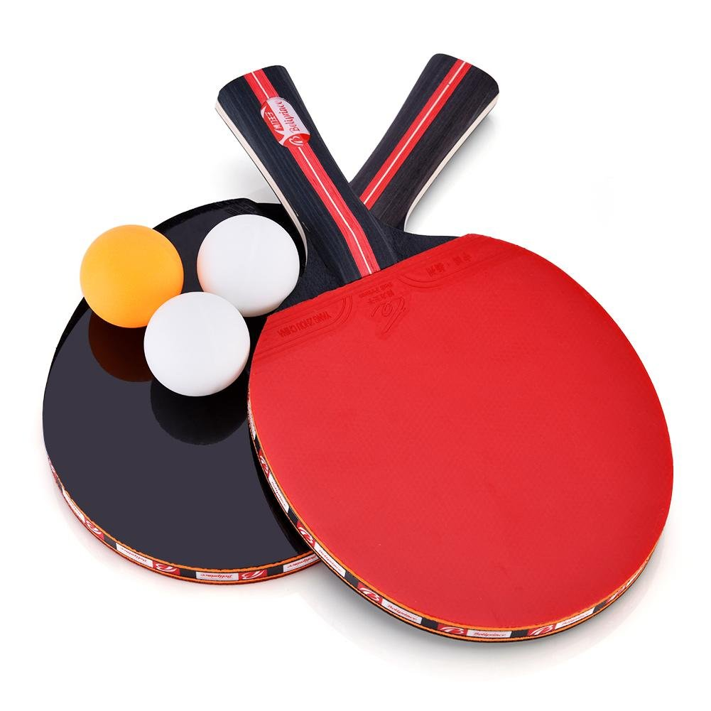 Dioche Boliprince Ping Pong Paddles, 2-Player Table Tennis Racket Set with Carrying Bag and 3 Balls for Shake-Hand Grip Players