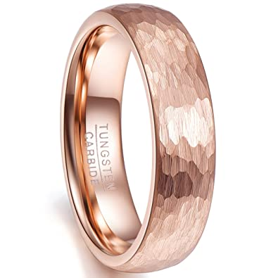 Nuncad 6mm Hammered Tungsten Carbide Ring Brushed Finish Rose Gold