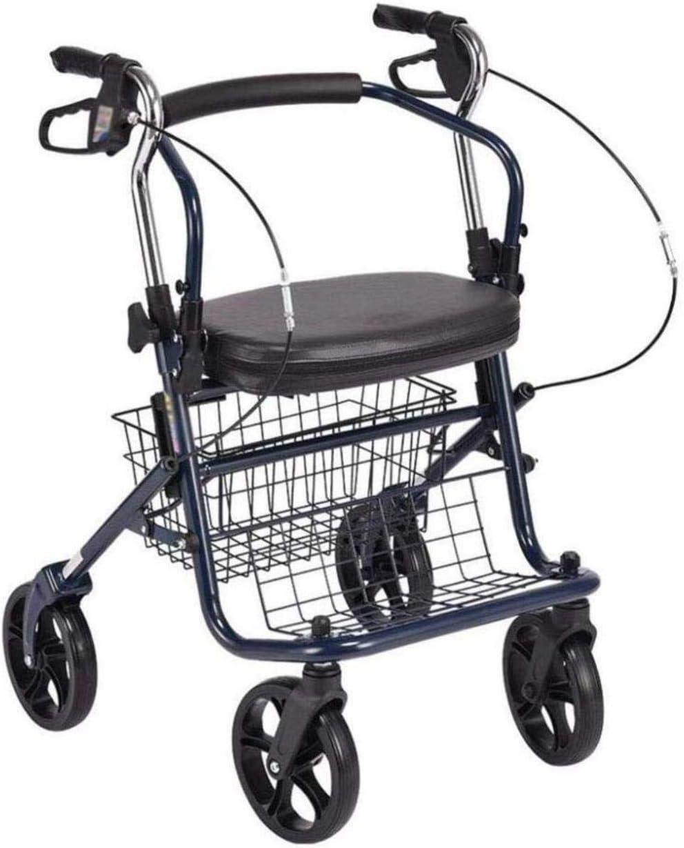 Andadores para discapacidad Andador para Ancianos Carro Puede Sentarse en el Antiguo Cesta de la Compra for Comprar Alimentos y Ligero Plegable Caminar Ayuda de muletas sillas de Ruedas (Color : B)