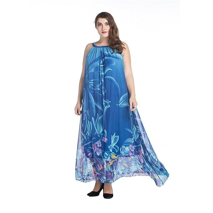 JOTHIN Frauen Ärmellose Boho Blau Druck Chiffonkleider Maxi Loses  Sommerkleid Elegant Damen kleider Groß Saum: Amazon.de: Bekleidung