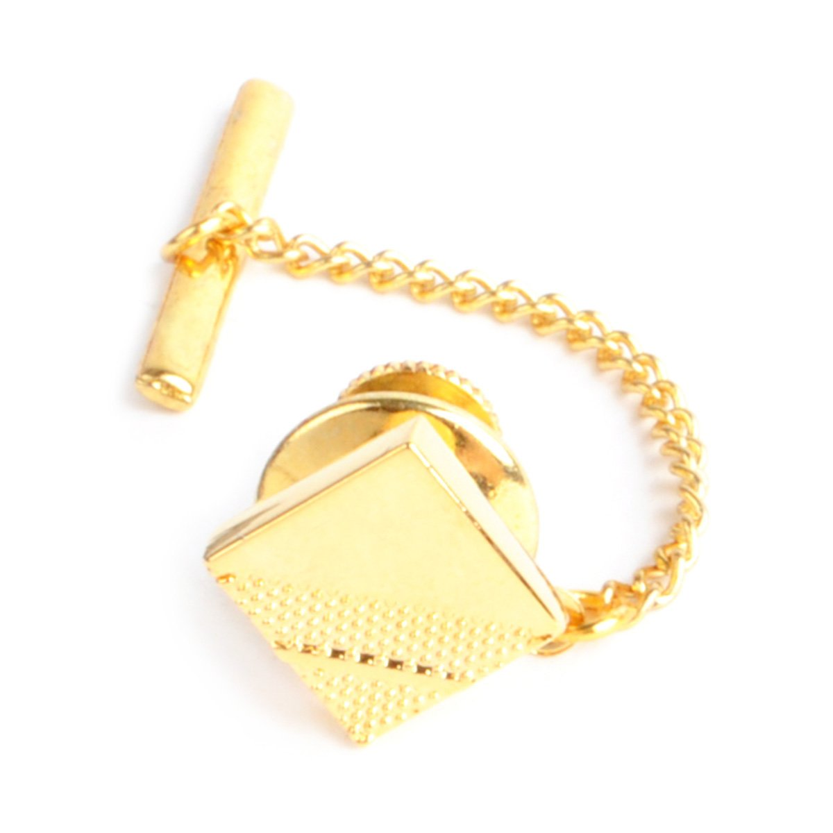 Square Textured Gold & Silver Tone Men's Tie Tack