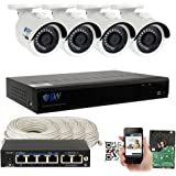 GW 4 Channel H.265 PoE NVR Ultra-HD 4K (3840x2160) Security Camera System with 4 x 4K (8MP) 2160p IP Camera, 100ft Night Vision, Outdoor Indoor Surveillance Camera