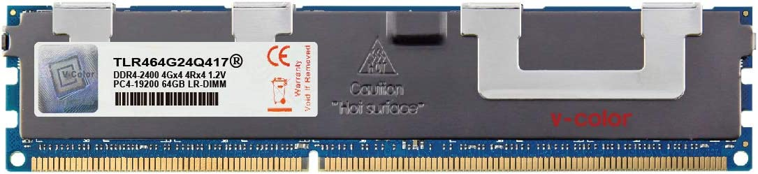V-Color 64GB (1 x 64GB) Quad Rank Server Memory Ram Module Upgrade DDR4 2400MHz (PC4-19200) Load-Reduced DIMM with Heat Sink 1.2V CL17 4Rx4 (TLR464G24Q417)
