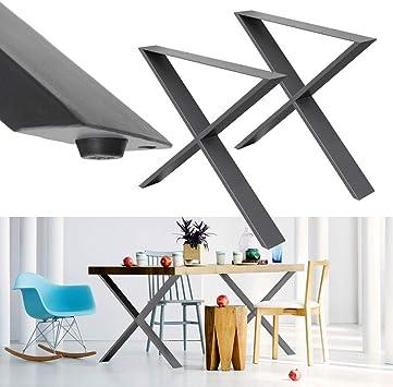 ECD Germany 2x Patas de mesa en forma de x - 60 x 72 cm- acero ...