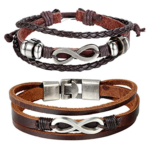 Cupimatch 2PCS Set Couples Leather Bracelet Cuff Love Infinity Charm Bangle for Men Women