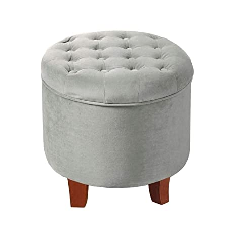 Super Amazon Com Light Gray Ottoman Round With Legs This Large Inzonedesignstudio Interior Chair Design Inzonedesignstudiocom
