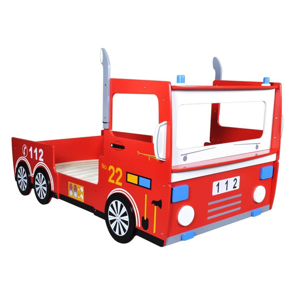 Anself Kinderbett Autobett Feuerwehrbett aus Holz Rot 200 x 90 cm ...