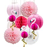 Tropical Pink Flamingo Party Honeycomb Decoration, Pom Poms Paper Flowers Tissue Paper Fan Paper Lanterns for Hawaiian Summer