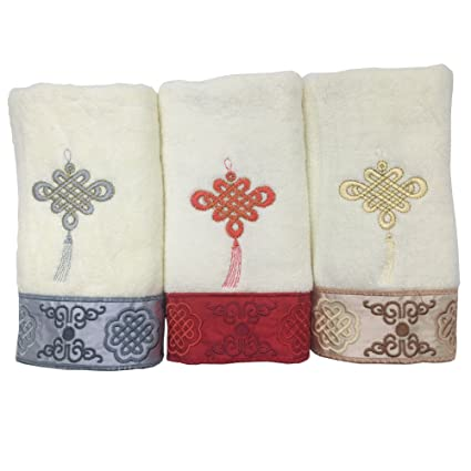 Toalla de mano toalla de baño toallitas regalo con chino anuda 13 x 30 inch color