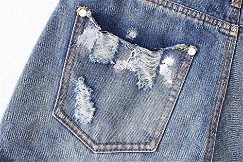 Jeans Oudan vintage Pantaloncini ricamo chic da Mini Blu con allentati floreale donna foro rwrYFqI