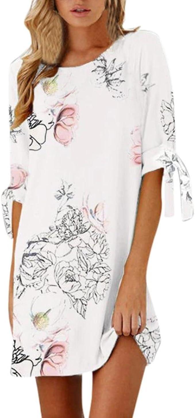 Kolylong® Kleid Damen Frauen Elegant Kurze Ärmel Kleid Blumenmuster Sommer  Vintage Chiffon Kleider Kurz Minikleid Strandkleid Cock Tail Partykleid