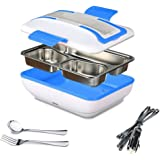 SUPOW Lunch Box, Portable Electric Heating Lunch Warmer Box with Removable Stainless Steel Container Food Heater and a Car Charger (Blue)