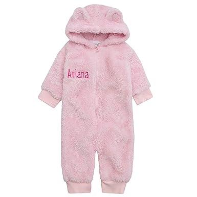 b31483f49 Hoolaroo Personalised Embroidered Baby Fleece Onesie with Teddy Bear ...