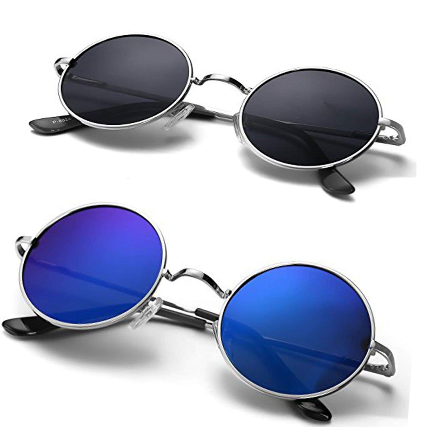 Non-Polarized UV-Protected Round Unisex Sunglasses (Blue & Black) Combo Pack of 2