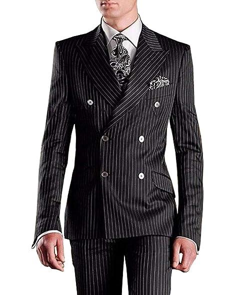 Amazon.com: Fitty lell hombre traje moda negro rayas hombres ...