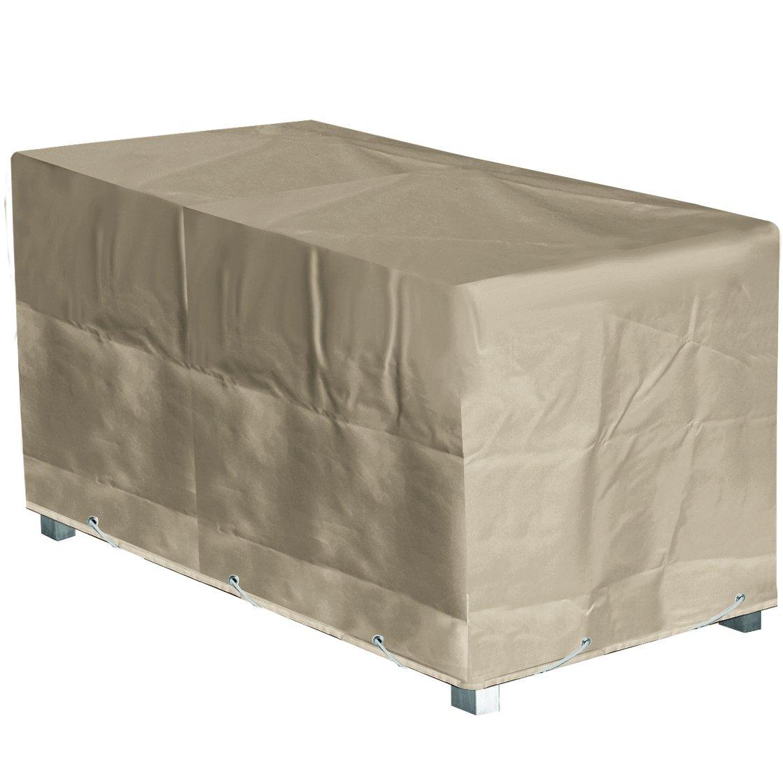 Schutzhülle für Gartentisch auch hochwertigem Polyester – 180 x 110 x 70 cm (L x B x H) – Beige