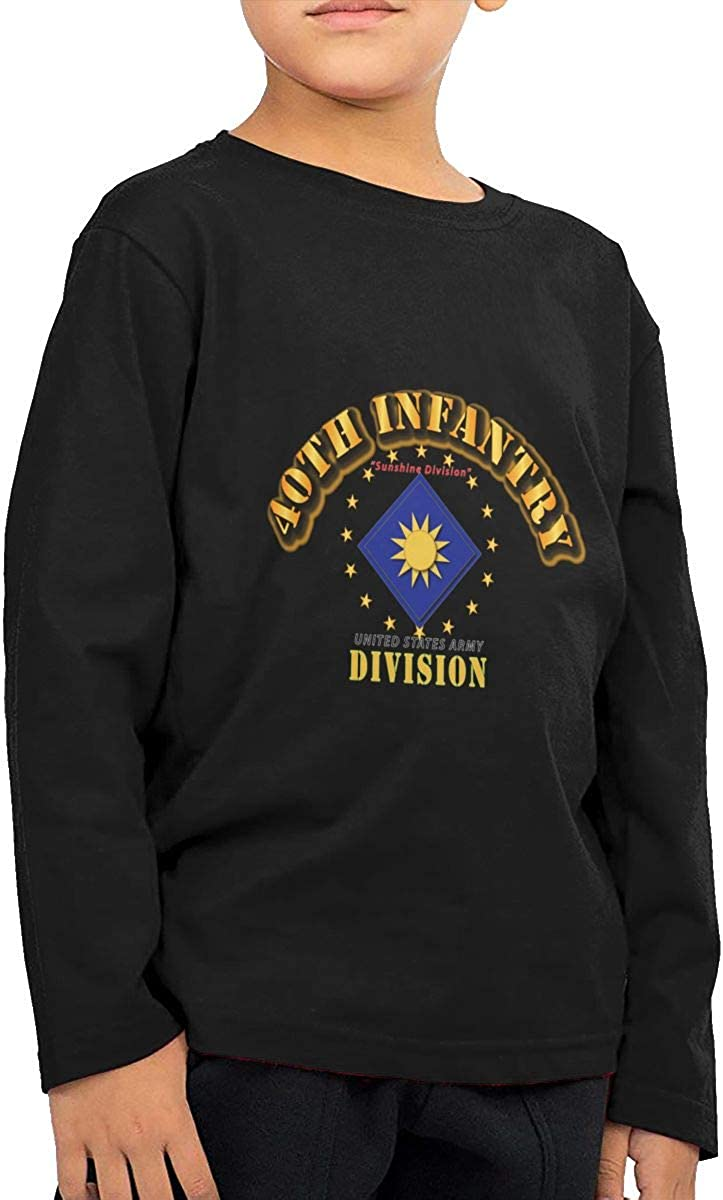 40th Infantry Division Sunshine Division Childrens Long Sleeve T-Shirt Boys Cotton Tee Tops